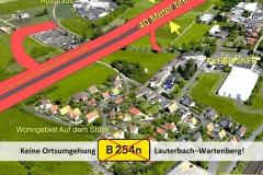 Trassenführung in Lauterbach am Stück